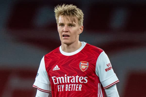 LONDON, ENGLAND - Saturday, April 3, 2021: Arsenal's Martin Ødegaard during the FA Premier League match between Arsenal FC and Liverpool FC at the Emirates Stadium. Liverpool won 3-0. (Pic by David Rawcliffe/Propaganda)
