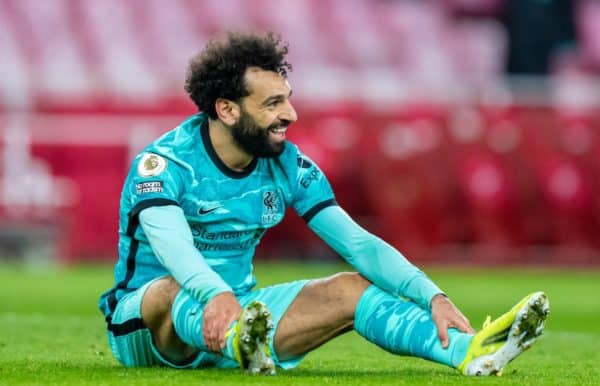 LONDON, ENGLAND - Saturday, April 3, 2021: Liverpool's Mohamed Salah smiles after missing a chance during the FA Premier League match between Arsenal FC and Liverpool FC at the Emirates Stadium. Liverpool won 3-0. (Pic by David Rawcliffe/Propaganda)