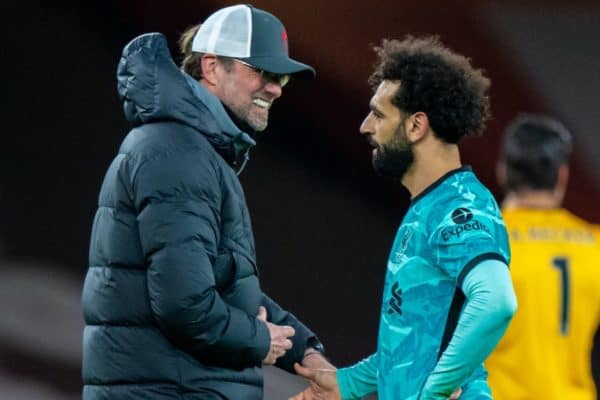 LONDON, ENGLAND - Saturday, April 3, 2021: Liverpool's manager Jürgen Klopp (L) and Mohamed Salah after the FA Premier League match between Arsenal FC and Liverpool FC at the Emirates Stadium. Liverpool won 3-0. (Pic by David Rawcliffe/Propaganda)