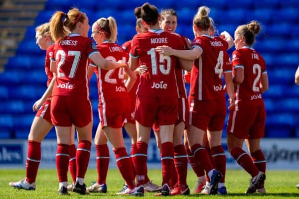 BIRKENHEAD, ENGLAND - Easter Sunday, April 4, 2021: Liverpool's Meikayla Moore (#15) celebrates with team-mates after scoring the second goal during the FA Women's Championship game between Liverpool FC Women and Lewes FC Women at Prenton Park. (Pic by David Rawcliffe/Propaganda)