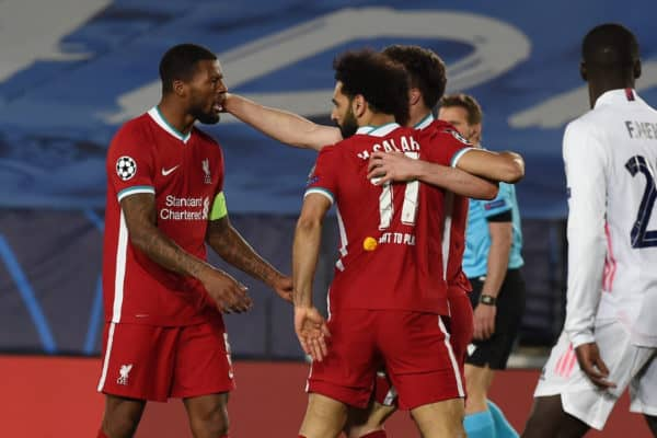 MADRID, SPAIN - Tuesday, April 6, 2021: Liverpool's Mohamed Salah celebrates after his side's only goal during the UEFA Champions League Quarter-Final 1st Leg game between Real Madird CF and Liverpool FC at the Estadio Alfredo Di Stefano. (Pic by Propaganda)