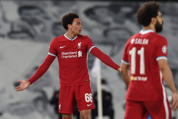 MADRID, SPAIN - Tuesday, April 6, 2021: Liverpool's Trent Alexander-Arnold reacts during the UEFA Champions League Quarter-Final 1st Leg game between Real Madird CF and Liverpool FC at the Estadio Alfredo Di Stefano. (Pic by Propaganda)