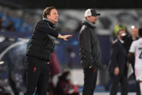 MADRID, SPAIN - Tuesday, April 6, 2021: Liverpool's first-team development coach Pepijn Lijnders during the UEFA Champions League Quarter-Final 1st Leg game between Real Madird CF and Liverpool FC at the Estadio Alfredo Di Stefano. (Pic by Propaganda)