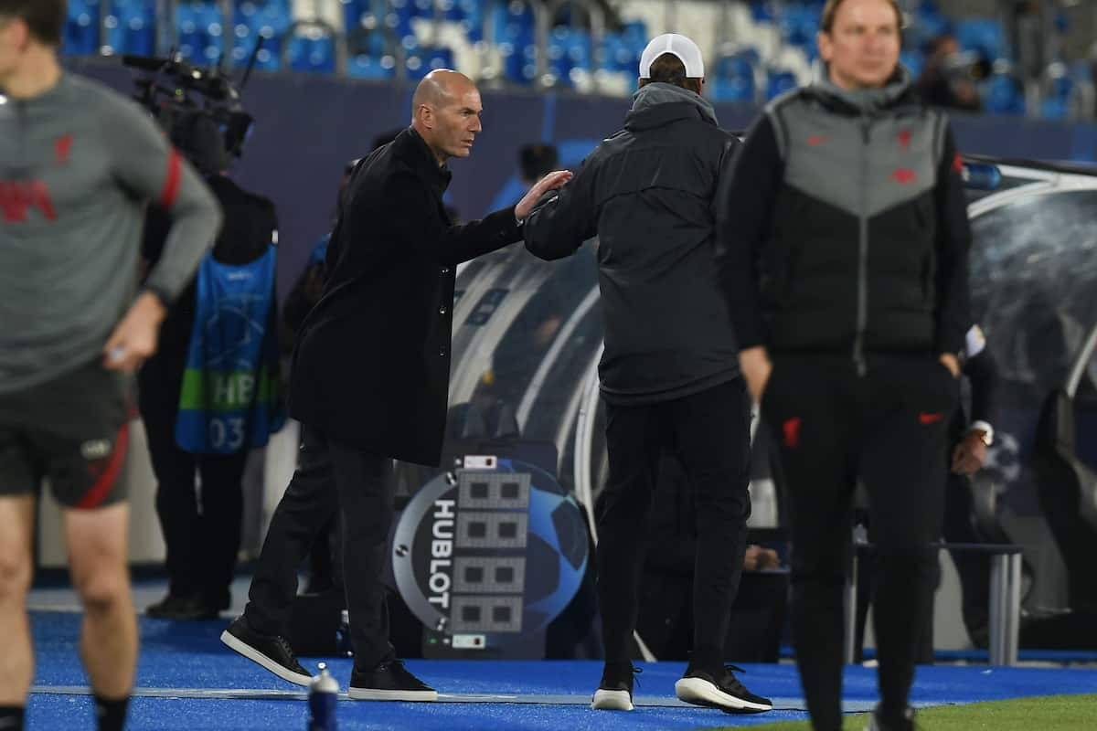 MADRID, SPAIN - Tuesday, April 6, 2021: Real Madrid's head coach Zine?dine Zidane (L) and Liverpool's manager Jürgen Klopp after the UEFA Champions League Quarter-Final 1st Leg game between Real Madird CF and Liverpool FC at the Estadio Alfredo Di Stefano. (Pic by Propaganda)