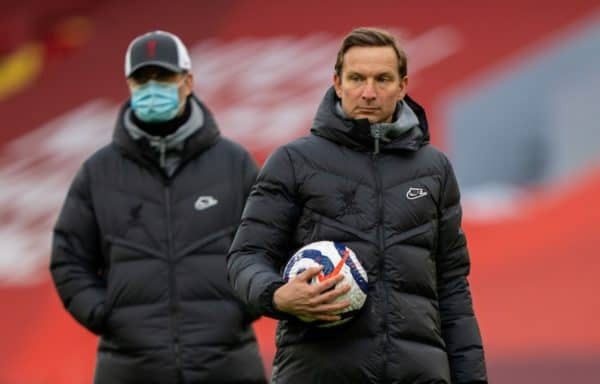 LIVERPOOL, ENGLAND - Saturday, April 10, 2021: Liverpool's first-team development coach Pepijn Lijnders during the pre-match warm-up before the FA Premier League match between Liverpool FC and Aston Villa FC at Anfield. Liverpool won 2-1. (Pic by David Rawcliffe/Propaganda)