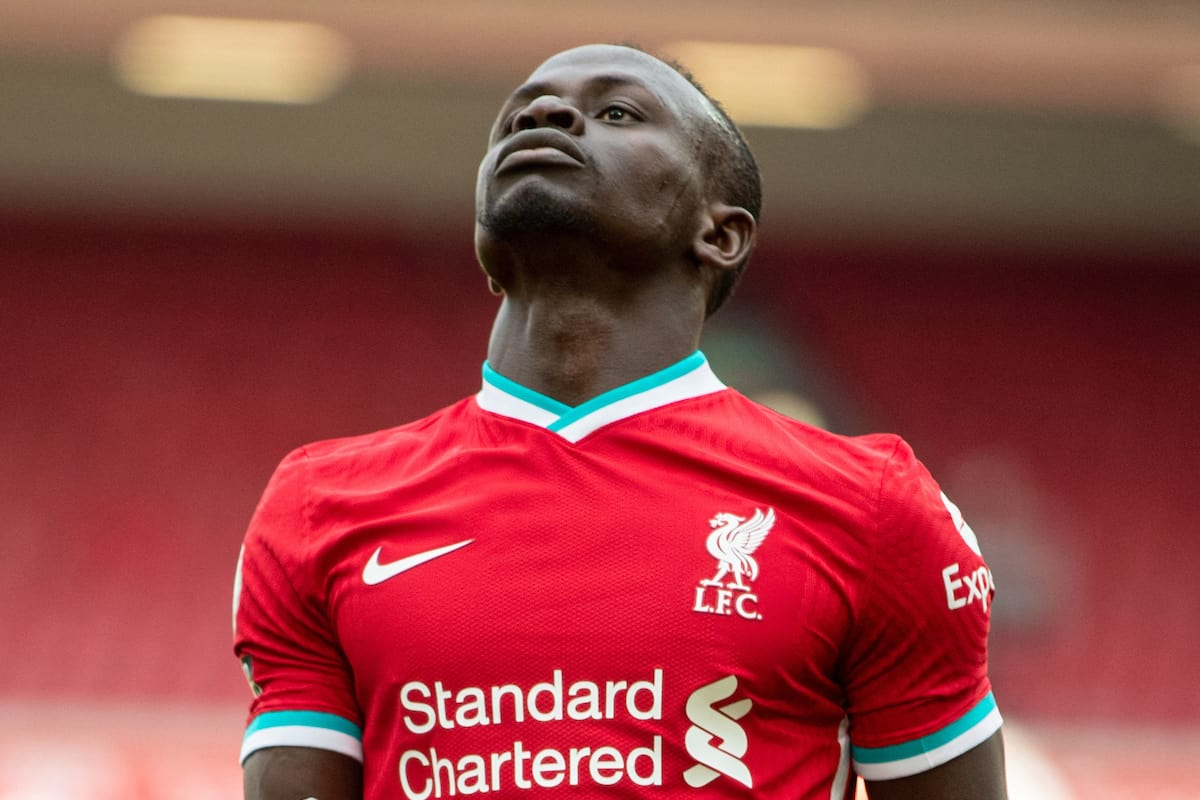 LIVERPOOL, ENGLAND - Saturday, April 10, 2021: Liverpool's Said Mané looks dejected after missing a chance during the FA Premier League match between Liverpool FC and Aston Villa FC at Anfield. Liverpool won 2-1. (Pic by David Rawcliffe/Propaganda)