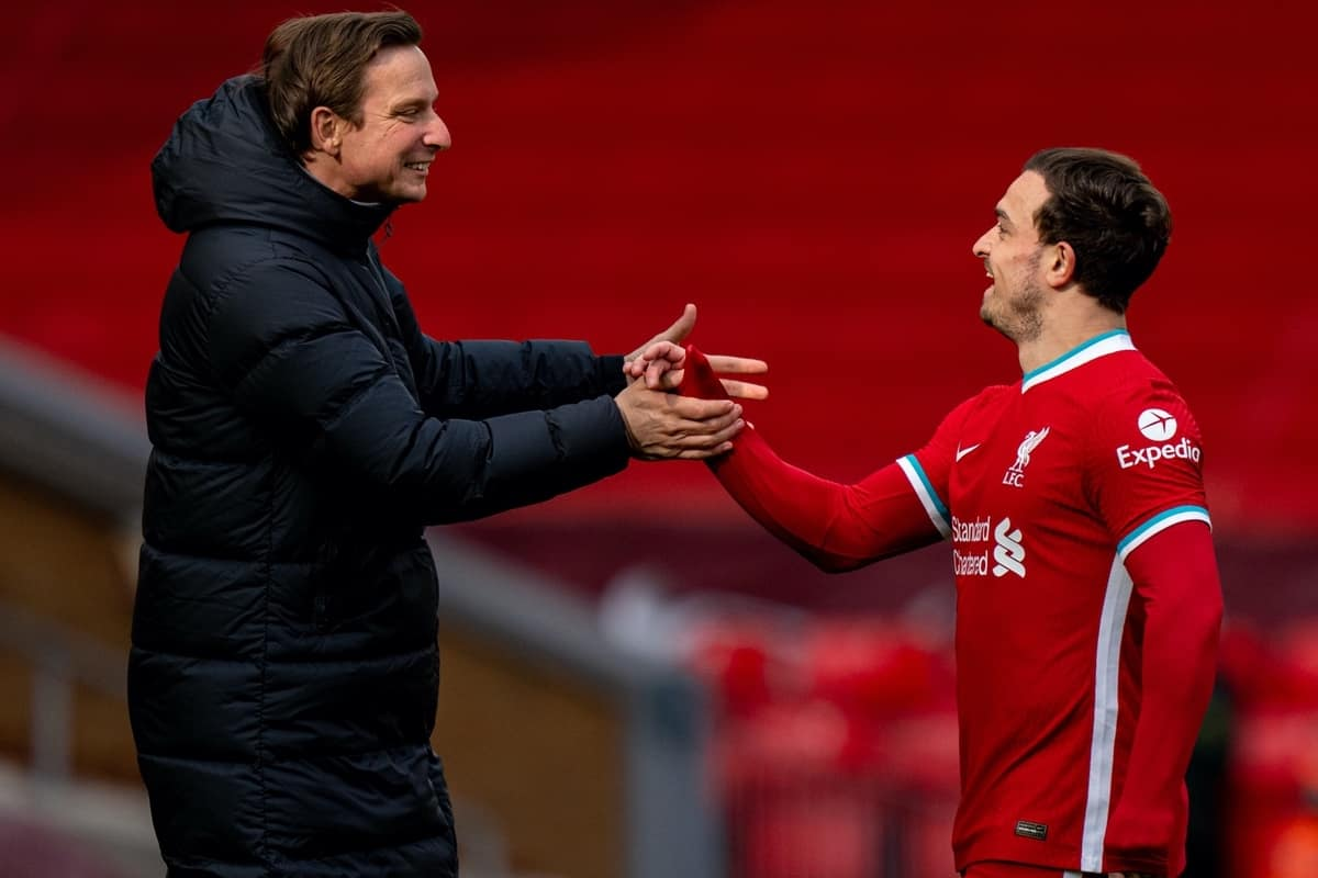 LIVERPOOL, ENGLAND - Saturday, April 10, 2021: Liverpool's Sheridan Shaqiri (R) and first-team development coach Pepijn Lijnders after the FA Premier League match between Liverpool FC and Aston Villa FC at Anfield. Liverpool won 2-1. (Pic by David Rawcliffe/Propaganda)