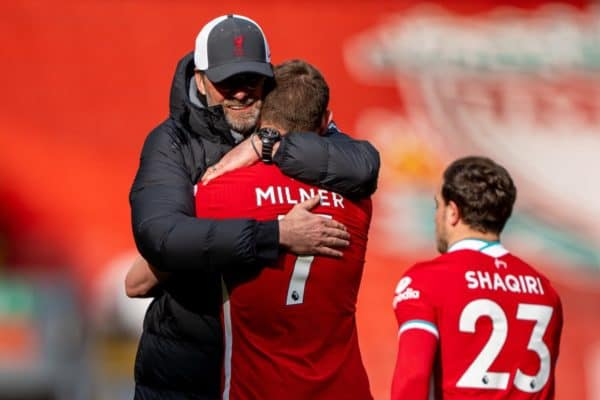 LIVERPOOL, ENGLAND - Saturday, April 10, 2021: Liverpool's manager Jürgen Klopp embraces James Milner after the FA Premier League match between Liverpool FC and Aston Villa FC at Anfield. Liverpool won 2-1. (Pic by David Rawcliffe/Propaganda)