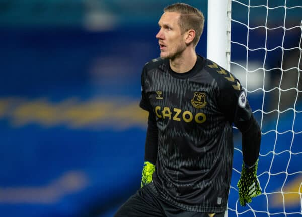 BRIGHTON & HOVE, ENGLAND - Monday, April 12, 2021: Everton's goalkeeper Robin Olsen during the FA Premier League match between Brighton & Hove Albion FC and Everton FC at the AMEX Stadium. The game ended in a 0-0 draw. (Pic by David Rawcliffe/Propaganda)