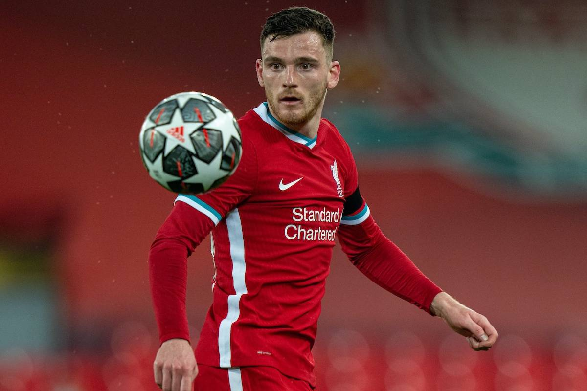 LIVERPOOL, ENGLAND - Wednesday, April 14, 2021: Liverpool's Andy Robertson during the UEFA Champions League Quarter-Final 2nd Leg game between Liverpool FC and Real Madird CF at Anfield. The game ended in a goal-less draw, Real Madrid won 3-1 on aggregate. (Pic by David Rawcliffe/Propaganda)