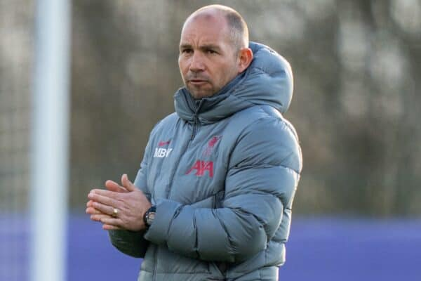 LEICESTER, ENGLAND - Friday, April 16, 2021: Liverpool's Under-18's manager Marc Bridge-Wilkinson during the FA Youth Cup 5th Round match between Leicester City FC and Liverpool FC at the Leicester City Academy. (Pic by David Rawcliffe/Propaganda)