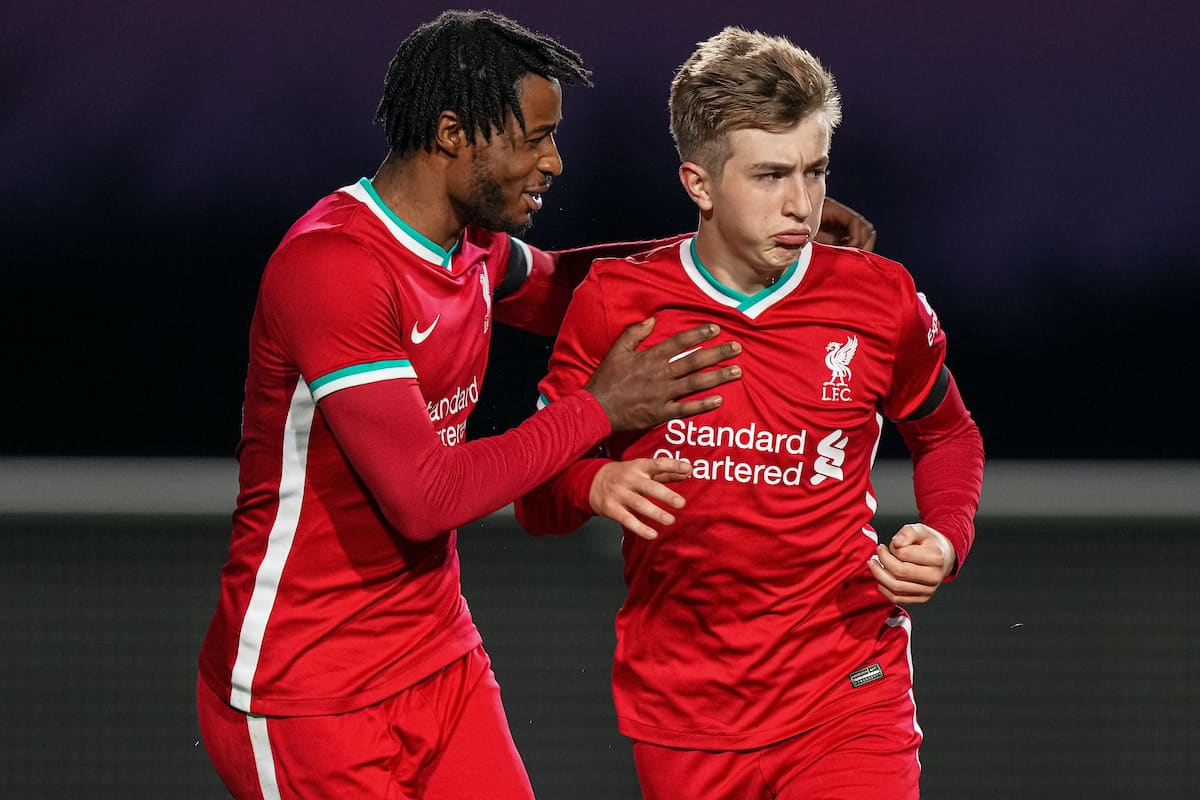 LEICESTER, ENGLAND - Friday, April 16, 2021: Liverpool's Max Woltman (R) celebrates with team-mate James Balagizi after scoring the third goal during the FA Youth Cup 5th Round match between Leicester City FC and Liverpool FC at the Leicester City Academy. Liverpool won 5-1. (Pic by David Rawcliffe/Propaganda)