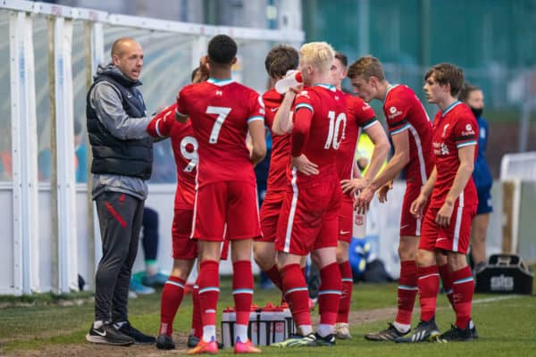LEYLAND, ENGLAND - Monday, April 19, 2021: Liverpool's manager Barry Lewtas speaks to his players during the Premier League 2 Division 1 match between Blackburn Rovers FC Under-23's and Liverpool FC Under-23's at the County Ground. (Pic by David Rawcliffe/Propaganda)