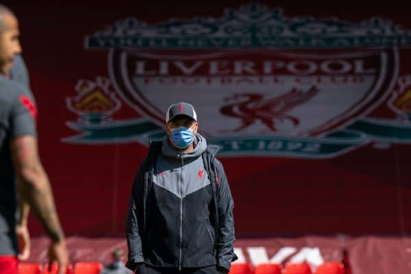 LIVERPOOL, ENGLAND - Saturday, April 24, 2021: Liverpool's manager Jürgen Klopp during the pre-match warm-up before the FA Premier League match between Liverpool FC and Newcastle United FC at Anfield. (Pic by David Rawcliffe/Propaganda)