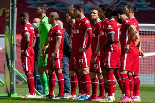 LIVERPOOL, ENGLAND - Saturday, April 24, 2021: Liverpool players line-up before the FA Premier League match between Liverpool FC and Newcastle United FC at Anfield. (Pic by David Rawcliffe/Propaganda)