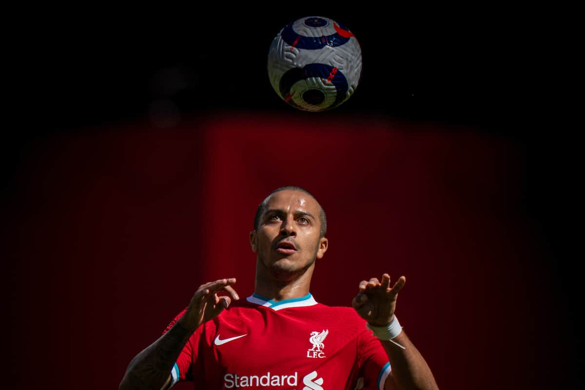 LIVERPOOL, ENGLAND - Saturday, April 24, 2021: Liverpool's Thiago Alcantara during the FA Premier League match between Liverpool FC and Newcastle United FC at Anfield. (Pic by David Rawcliffe/Propaganda)