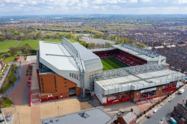 Aerial views of Anfield & Goodison Park Stadiums