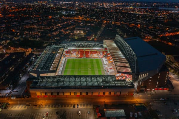 Aerial views of Anfield & Goodison Park Stadiums