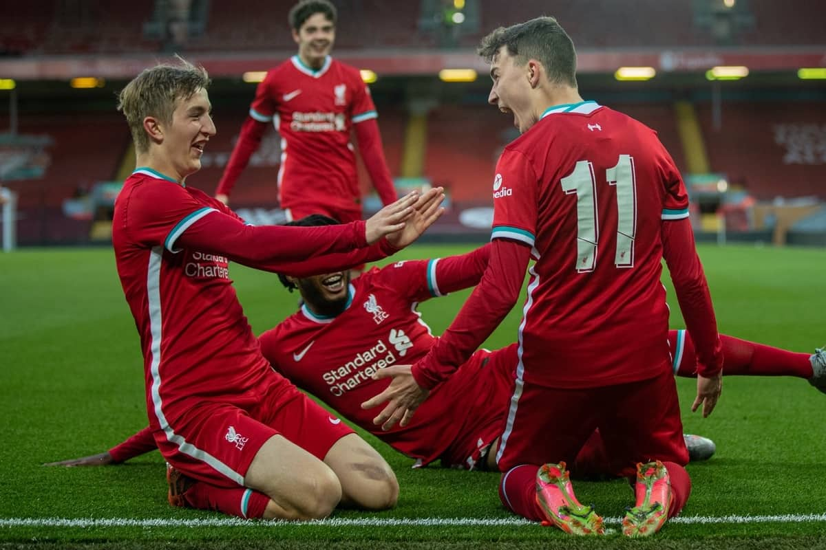 LIVERPOOL, ENGLAND - Friday, April 30, 2021: Liverpool's Mateusz Musialowski (R) celebrates with team-mates after scoring the third goal during the FA Youth Cup Quarter-Final match between Liverpool FC Under-18's and Arsenal FC Under-18's at Anfield. Liverpool won 3-1. (Pic by David Rawcliffe/Propaganda)
