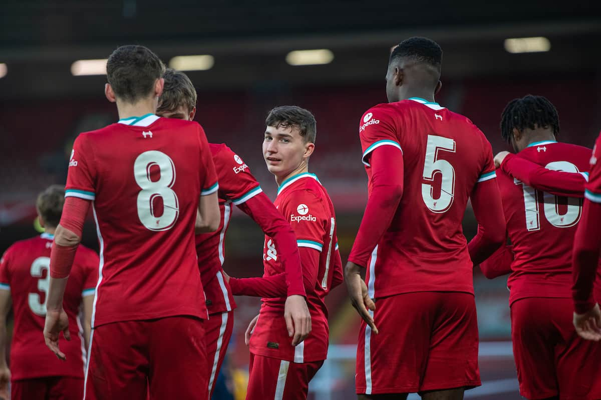 LIVERPOOL, ENGLAND - Friday, April 30, 2021: Liverpool's Mateusz Musialowski (C) celebrates with team-mates after scoring the third goal during the FA Youth Cup Quarter-Final match between Liverpool FC Under-18's and Arsenal FC Under-18's at Anfield. Liverpool won 3-1. (Pic by David Rawcliffe/Propaganda)