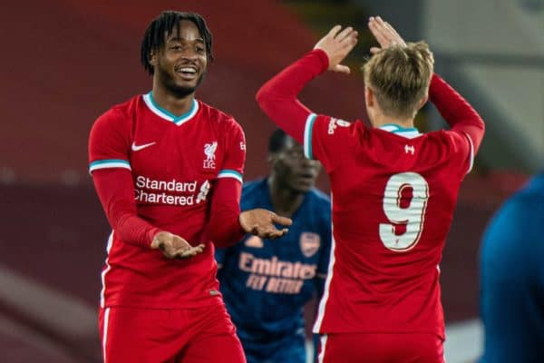 LIVERPOOL, ENGLAND - Friday, April 30, 2021: Liverpool's James Balagizi (L) and Max Woltman (R) celebrate after the FA Youth Cup Quarter-Final match between Liverpool FC Under-18's and Arsenal FC Under-18's at Anfield. Liverpool won 3-1. (Pic by David Rawcliffe/Propaganda)
