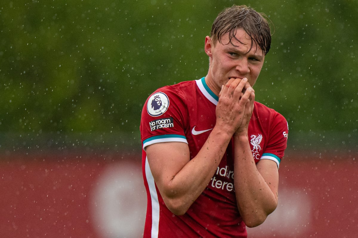 KIRKBY, ENGLAND - Monday, May 3, 2021: Liverpool's Paul Glatzel looks dejected after missing a chance during the Premier League 2 Division 1 match between Liverpool FC Under-23's and Leicester City FC Under-23's at the Liverpool Academy. (Pic by David Rawcliffe/Propaganda)