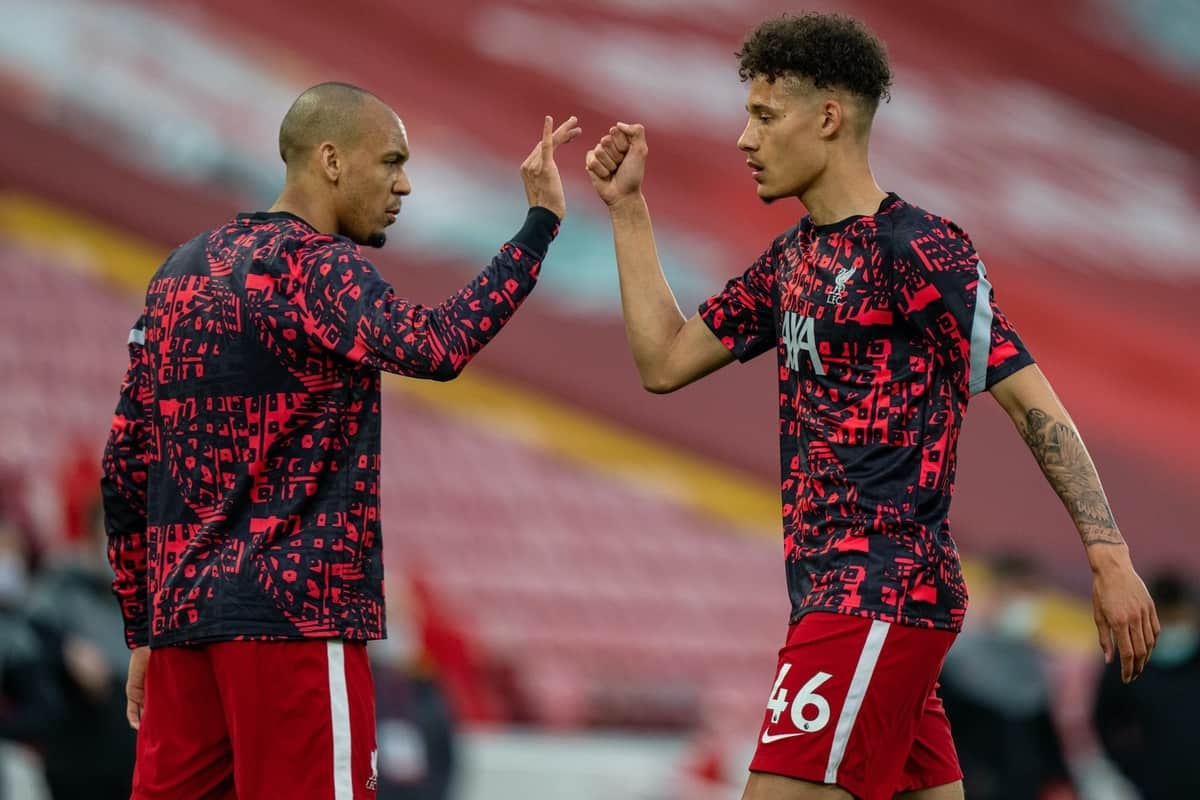 LIVERPOOL, ENGLAND - Saturday, May 8, 2021: Liverpool's Rhys Williams (R) and Fabinho during the pre-match warm-up before the FA Premier League match between Liverpool FC and Southampton FC at Anfield. Liverpool won 2-0. (Pic by David Rawcliffe/Propaganda)