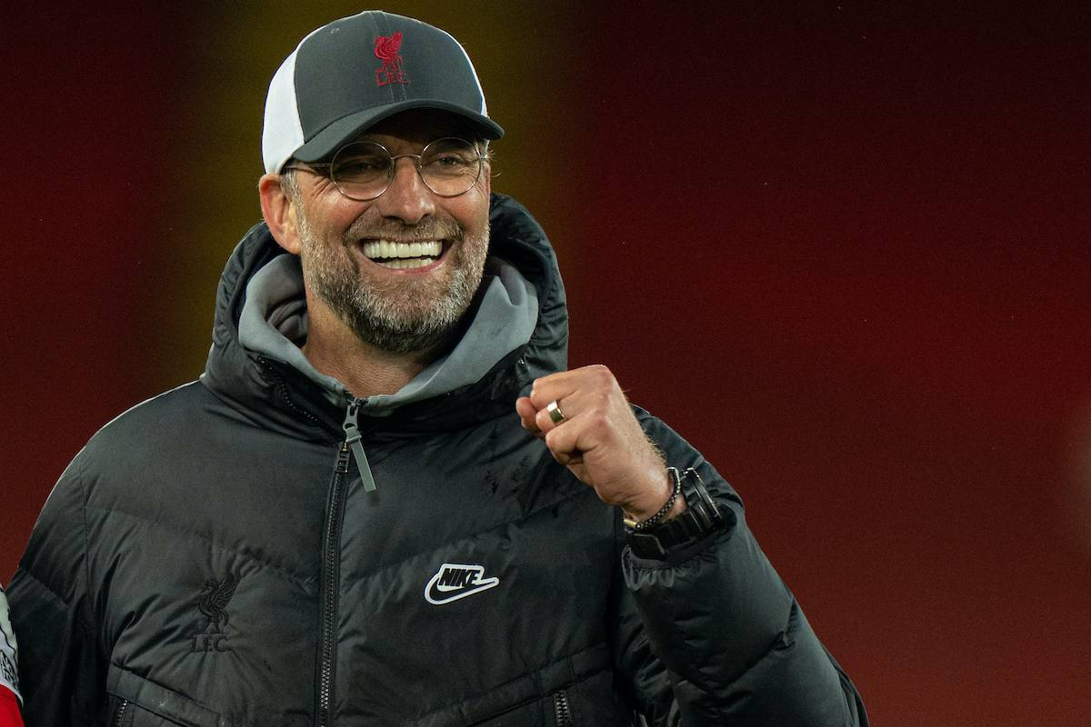 LIVERPOOL, ENGLAND - Saturday, May 8, 2021: Liverpool's manager Jürgen Klopp celebrates after the FA Premier League match between Liverpool FC and Southampton FC at Anfield. Liverpool won 2-0. (Pic by David Rawcliffe/Propaganda)