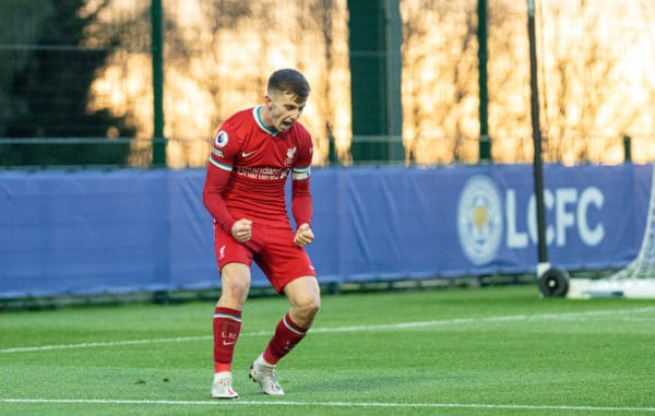 SEAGRAVE, ENGLAND - Monday, May 10, 2021: Liverpool's captain Ben Woodburn celebrates after scoring the first goal during the Premier League 2 Division 1 match between Leicester City FC Under-23's and Liverpool FC Under-23's at the Leicester City Training Ground. Liverpool won 2-0. (Pic by David Rawcliffe/Propaganda)