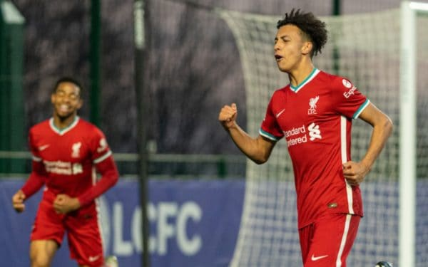 SEAGRAVE, ENGLAND - Monday, May 10, 2021: Liverpool's substitute Kaide Gordan celebrates after scoring the second goal during the Premier League 2 Division 1 match between Leicester City FC Under-23's and Liverpool FC Under-23's at the Leicester City Training Ground. Liverpool won 2-0. (Pic by David Rawcliffe/Propaganda)