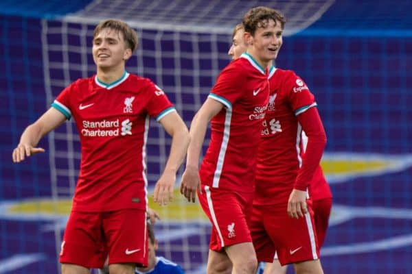 IPSWICH, ENGLAND - Wednesday, May 12, 2021: Liverpool's Tyler Morton celebrates at the final whistle during the FA Youth Cup Semi-Final match between Ipswich Town FC Under-18's and Liverpool FC Under-18's at Portman Road. Liverpool won 2-1. (Pic by David Rawcliffe/Propaganda)