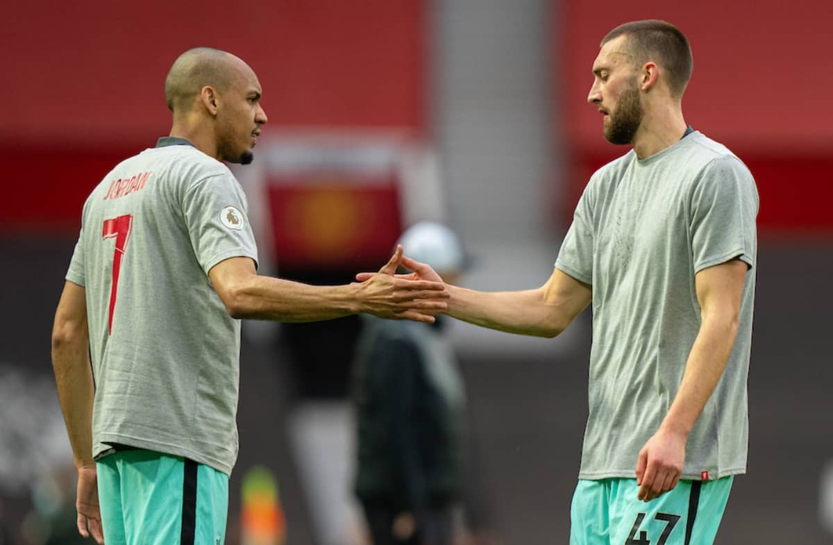 MANCHESTER, ENGLAND - Thursday, May 13, 2021: Liverpool's Nathaniel Phillips (R) and Fabio Henrique Tavares 'Fabinho' during the pre-match warm-up before the FA Premier League match between Manchester United FC and Liverpool FC at Old Trafford. (Pic by David Rawcliffe/Propaganda)