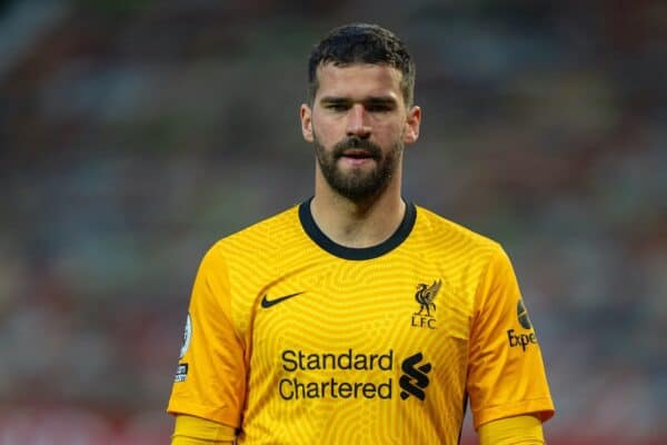 MANCHESTER, ENGLAND - Thursday, May 13, 2021: Liverpool's goalkeeper Alisson Becker during the FA Premier League match between Manchester United FC and Liverpool FC at Old Trafford. (Pic by David Rawcliffe/Propaganda)