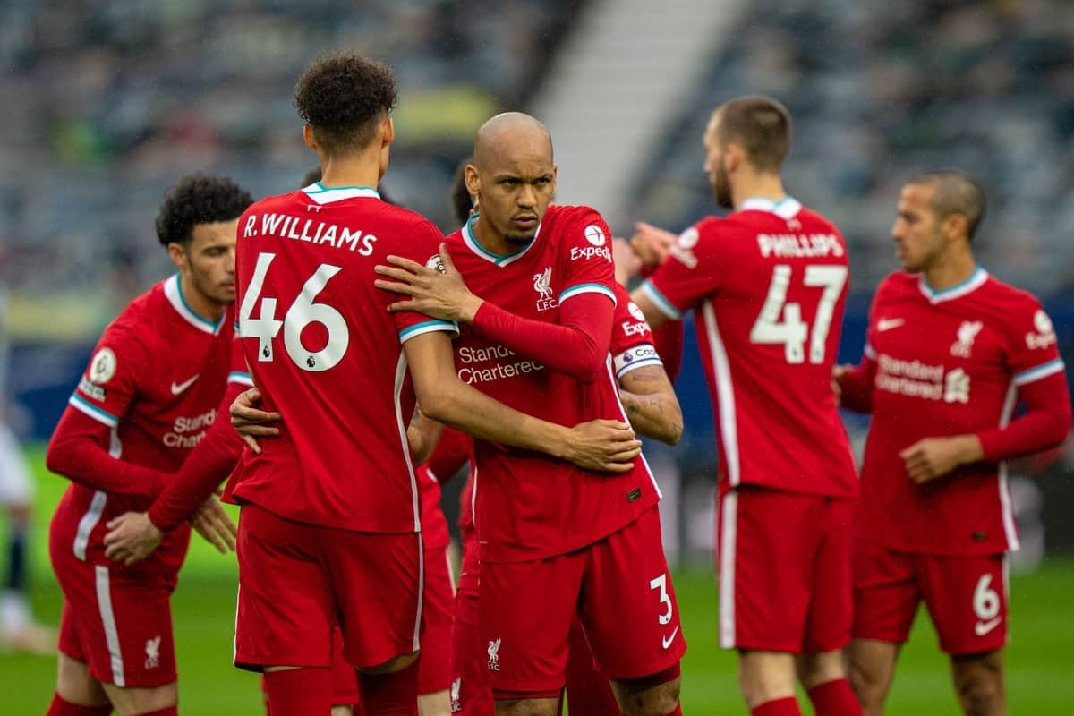 WEST BROMWICH, ENGLAND - Sunday, May 16, 2021: Liverpool's Fabio Henrique Tavares 'Fabinho' (R) and Rhys Williams before the FA Premier League match between West Bromwich Albion FC and Liverpool FC at The Hawthorns. (Pic by David Rawcliffe/Propaganda)