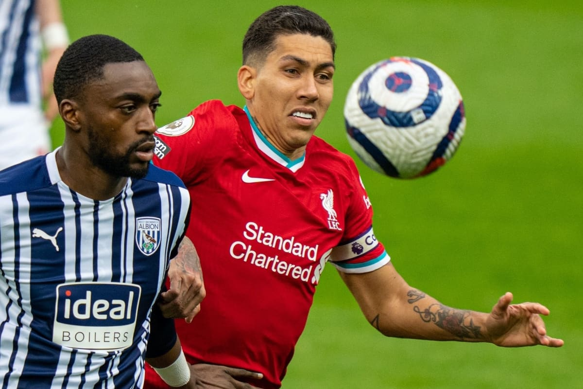 WEST BROMWICH, ENGLAND - Sunday, May 16, 2021: Liverpool's Roberto Firmino (R) and West Bromwich Albion's Semi Ajayi during the FA Premier League match between West Bromwich Albion FC and Liverpool FC at The Hawthorns. (Pic by David Rawcliffe/Propaganda)