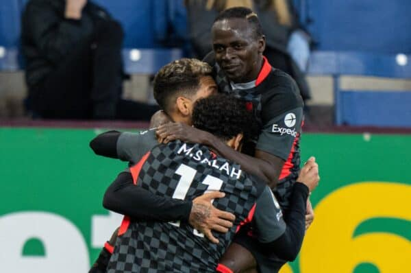 BURNLEY, ENGLAND - Wednesday, May 19, 2021: Liverpool's Roberto Firmino (C) celebrates with team-mates Mohamed Salah (L) and Sadio Mané (R) after scoring the first goal during the FA Premier League match between Burnley FC and Liverpool FC at Turf Moor. Liverpool won 3-0. (Pic by David Rawcliffe/Propaganda)