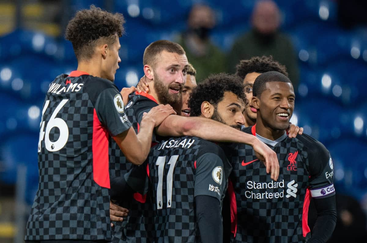 BURNLEY, ENGLAND - Wednesday, May 19, 2021: Liverpool's Nathaniel Phillips (C) celebrates with team-mates after scoring the second goal during the FA Premier League match between Burnley FC and Liverpool FC at Turf Moor. Liverpool won 3-0. (Pic by David Rawcliffe/Propaganda)