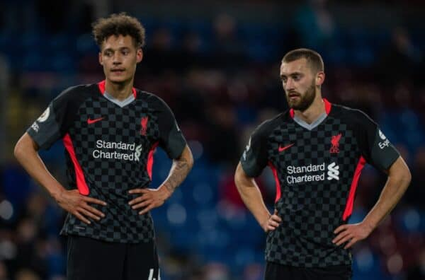 BURNLEY, ENGLAND - Wednesday, May 19, 2021: Liverpool's Rhys Williams (L) and Nathaniel Phillips during the FA Premier League match between Burnley FC and Liverpool FC at Turf Moor. Liverpool won 3-0. (Pic by David Rawcliffe/Propaganda)