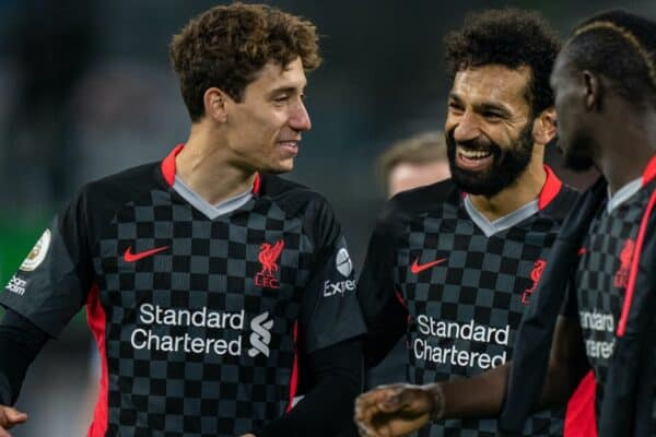 BURNLEY, ENGLAND - Wednesday, May 19, 2021: Liverpool's Kostas Tsimikas (L) and Mohamed Salah after the FA Premier League match between Burnley FC and Liverpool FC at Turf Moor. Liverpool won 3-0. (Pic by David Rawcliffe/Propaganda)