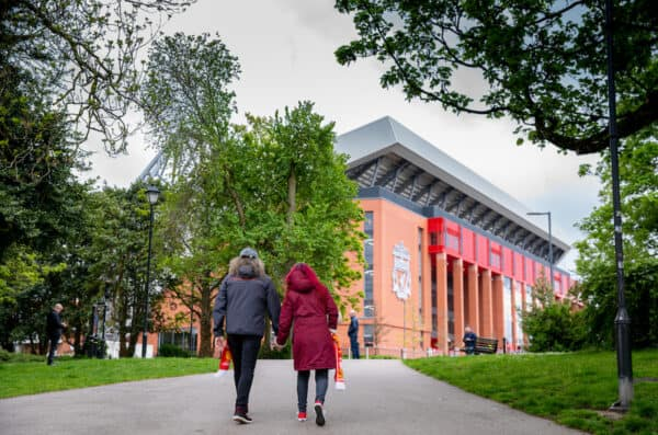 LIVERPOOL, ENGLAND - Sunday, May 23, 2021: Two Liverpool supporters walk towards Anfield from Stanley Park before the final FA Premier League match between Liverpool FC and Crystal Palace FC at Anfield. (Pic by David Rawcliffe/Propaganda)