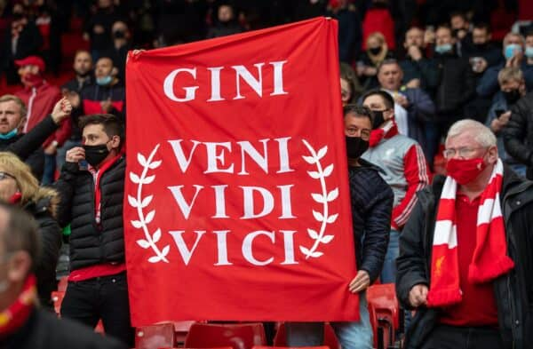 """LIVERPOOL, ENGLAND - Sunday, May 23, 2021: Liverpool supporters' banner """"Gini [Georginio Wijnaldum] Veni Vidi Vici"""" during the final FA Premier League match between Liverpool FC and Crystal Palace FC at Anfield. (Pic by David Rawcliffe/Propaganda)"""