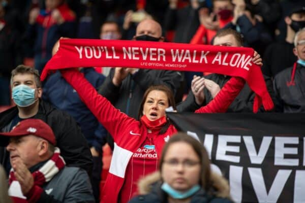 LIVERPOOL, ENGLAND - Sunday, May 23, 2021: Liverpool supporters during the final FA Premier League match between Liverpool FC and Crystal Palace FC at Anfield. (Pic by David Rawcliffe/Propaganda)
