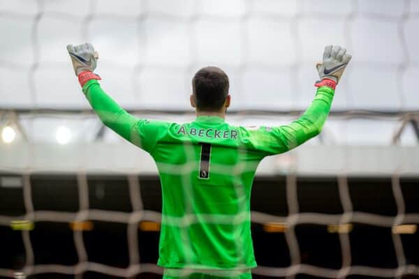 LIVERPOOL, ENGLAND - Sunday, May 23, 2021: Liverpool's goalkeeper Alisson Becker prays before the final FA Premier League match between Liverpool FC and Crystal Palace FC at Anfield. (Pic by David Rawcliffe/Propaganda)