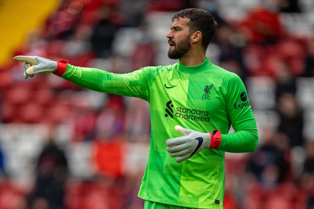 LIVERPOOL, ENGLAND - Sunday, May 23, 2021: Liverpool's goalkeeper Alisson Becker during the final FA Premier League match between Liverpool FC and Crystal Palace FC at Anfield. Liverpool won 2-0 and finished 3rd in the table. (Pic by David Rawcliffe/Propaganda)