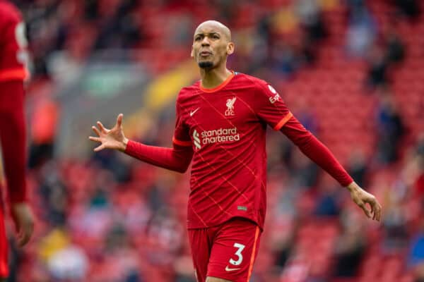 LIVERPOOL, ENGLAND - Sunday, May 23, 2021: Liverpool's Fabio Henrique Tavares 'Fabinho' during the final FA Premier League match between Liverpool FC and Crystal Palace FC at Anfield. Liverpool won 2-0 and finished 3rd in the table. (Pic by David Rawcliffe/Propaganda)