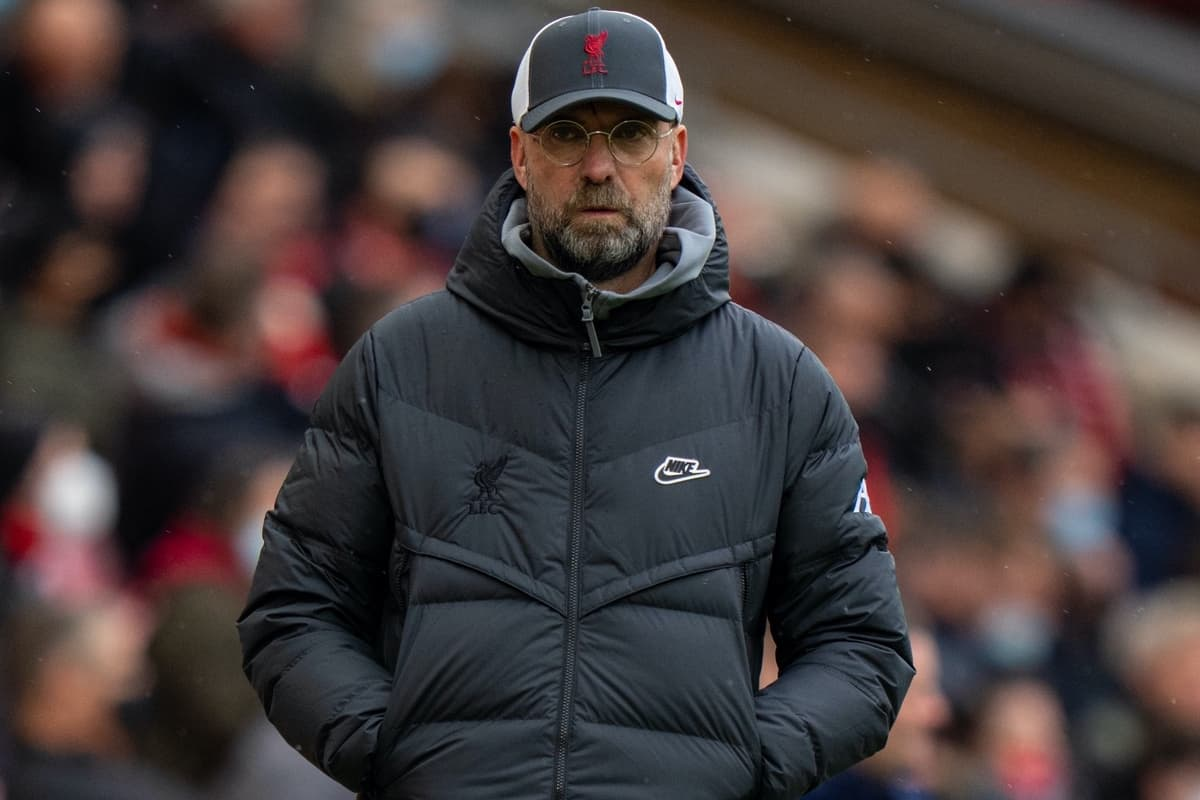 LIVERPOOL, ENGLAND - Sunday, May 23, 2021: Liverpool's manager Jürgen Klopp during the final FA Premier League match between Liverpool FC and Crystal Palace FC at Anfield. Liverpool won 2-0 and finished 3rd in the table. (Pic by David Rawcliffe/Propaganda)