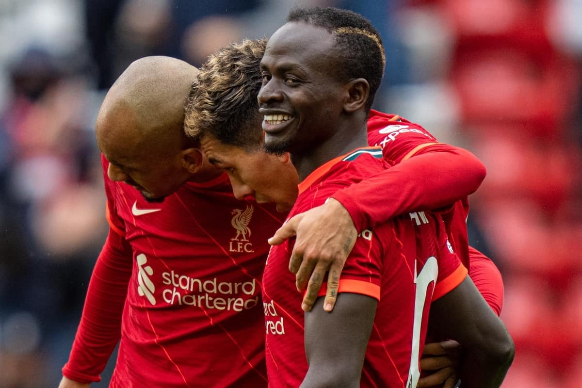 LIVERPOOL, ENGLAND - Sunday, May 23, 2021: Liverpool's Sadio Mané (R) celebrates with team-mates after scoring the second goal during the final FA Premier League match between Liverpool FC and Crystal Palace FC at Anfield. Liverpool won 2-0 and finished 3rd in the table. (Pic by David Rawcliffe/Propaganda)