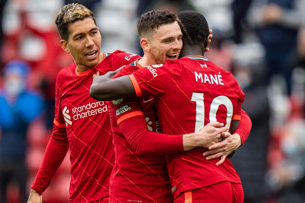 LIVERPOOL, ENGLAND - Sunday, May 23, 2021: Liverpool's Sadio Mané (R) celebrates with team-mates Andy Robertson (C) and Roberto Firmino (L) after scoring the second goal during the final FA Premier League match between Liverpool FC and Crystal Palace FC at Anfield. Liverpool won 2-0 and finished 3rd in the table. (Pic by David Rawcliffe/Propaganda)