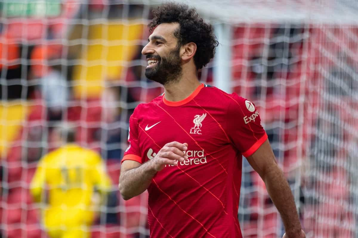 LIVERPOOL, ENGLAND - Sunday, May 23, 2021: Liverpool's Mohamed Salah looks dejected after missing a chance during the final FA Premier League match between Liverpool FC and Crystal Palace FC at Anfield. Liverpool won 2-0 and finished 3rd in the table. (Pic by David Rawcliffe/Propaganda)