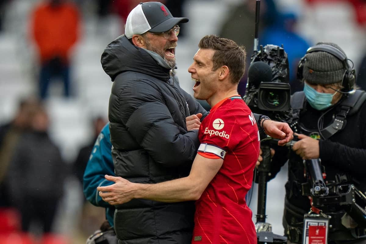 LIVERPOOL, ENGLAND - Sunday, May 23, 2021: Liverpool's manager Jürgen Klopp (L) and James Milner after the final FA Premier League match between Liverpool FC and Crystal Palace FC at Anfield. Liverpool won 2-0 and finished 3rd in the table. (Pic by David Rawcliffe/Propaganda)